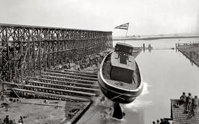 Picture retro, ship, USA, stapel, launching