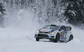 Picture Winter, Snow, Forest, Volkswagen, Skid, WRC, Rally, Rally, Polo