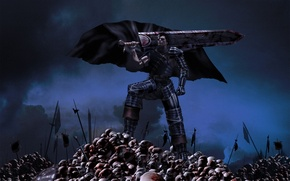 Picture weapons, blood, sword, skull, guy, cloak, battlefield, berserk, guts