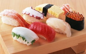 Wallpaper food, octopus, figure, red, caviar, sushi, rolls, shrimp, seafood, Japanese cuisine, ginger