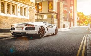 Picture Lamborghini, City, White, Street, LP700-4, Aventador, Road, Supercar, Rear, Beam