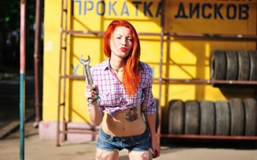 Picture girl, shorts, key, tattoo, photographer, red, girl, photography, photographer, Elena Umrihina