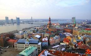 Picture winter, bridge, river, home, Riga, Latvia, Riga