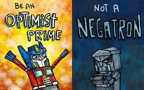 Wallpaper figure, optimist, a pessimist, transformers, Optimus Prime, Megatron, humor