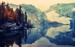 Picture autumn, water, snow, trees, river, serenity, Mountains