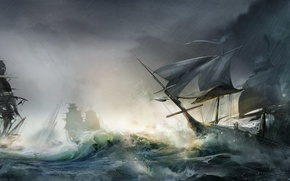 Wallpaper storm, wood, sailboats, naval battles