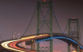 Picture the sky, bridge, lights, the evening, support
