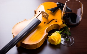 Wallpaper flower, wine, violin, glass, rose, yellow