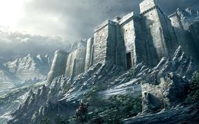 Picture snow, mountains, Castle, warrior
