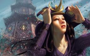 Picture girl, the building, tower, hands, petals, art, temple, Asian, steve argyle