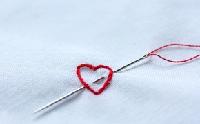 Picture heart, thread, needle