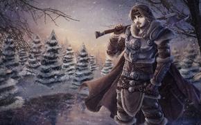Picture snow, trees, warrior, art, armor, guy, axe, cloak