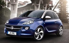 Picture blue, background, Opel, Opel, Adam, Vauxhall, the front, Adam, hatchback, Vauxhall, Jam