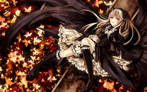 Picture girl, Anime, Art, leaves, roses, Suigintou, Rozen Maiden