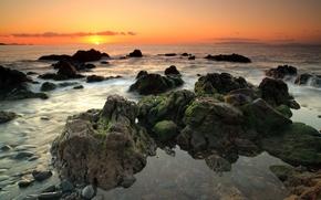 Picture sea, sunset, Peaceful