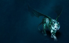 Wallpaper tiger, background, wings, art, armor