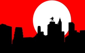 Wallpaper the moon, Batman, Batman, cloak, silhouette, mask, the city