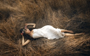 Picture grass, pose, body, Girl, dress, Asian