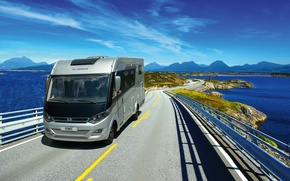Picture van, Adria, move with a mobile, the ocean, road, landscape, transport