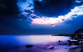 Wallpaper night, The ocean, coast