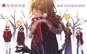 Picture winter, snow, scarf, fur, guys, friends, merry christmas, kent, amnesia, shin, ikki, toma, ukyo, the …