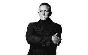 Picture photo, actor, white background, black and white, journal, coat, Daniel Craig, Daniel Craig, 2015, DuJour, …
