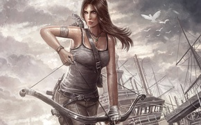 Picture ship, bow, Tomb Raider, arrows, Reborn, Lara Croft
