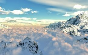 Wallpaper clouds, snow, mountains