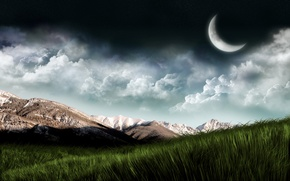 Picture the sky, grass, mountains, planet