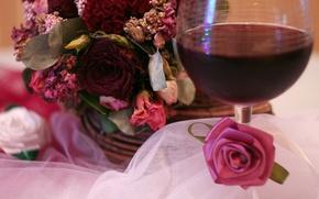 Picture wine, roses, dried bouquet, herbarium, the bride's bouquet, crane wine