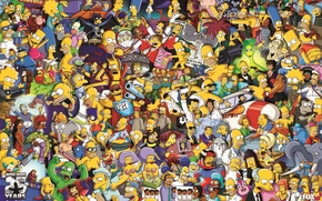 Picture Poster, The Simpsons, 25 Years, The cartoon characters, 25th Anniversary, The simpsons, Poster