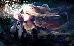 Picture the sky, girl, stars, night, magic, anime, art, wreath, yukino neko