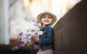 Picture flowers, smile, girl