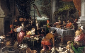 Picture animals, people, picture, genre, mythology, The rich man and Lazarus, Leandro Bassano