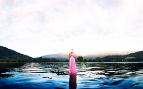 Picture lake, water, in pink, vanessa paxton, girl