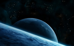 Picture Star, Blue, planet, asteroid, Sci Fi