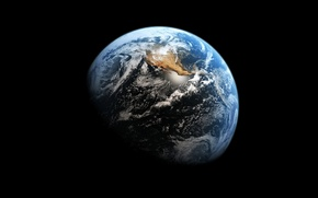 Picture black, blue, Earth from space
