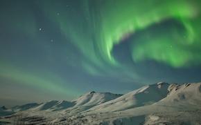 Wallpaper Alaska, snow, mountains, winter, Northern lights, Klondike, night, Yukon, stars, USA