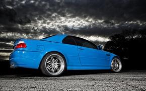Picture clouds, blue, BMW, BMW, blue, E46