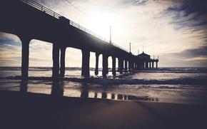 Picture beach, ocean, bridge, water, sand, dock