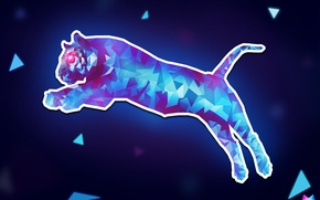 Picture cat, line, jump, triangles, angle, geometry, Tiger, jump, cat, art, puma, Crystallized, by Asterii, abstract …
