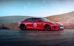 Picture Jaguar, Red, Car, Front, Sun, Sport, F-type, Rain Prisk