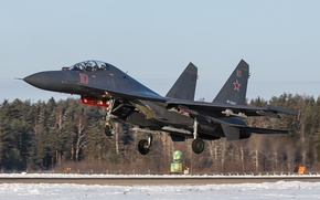 Picture fighter, the airfield, the rise, Su-35, jet, multipurpose, super-maneuverable