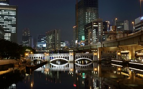 Picture water, night, bridge, lights, reflection, home, skyscrapers, Japan, channel, Fukuoka