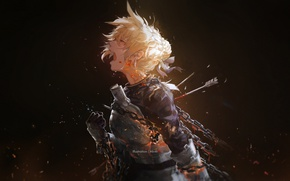 Picture girl, blood, anime, tears, art, armor, chain, arrows, saber, fate/stay night, miv4t