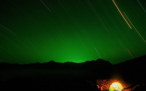 Wallpaper stars, night, Tent
