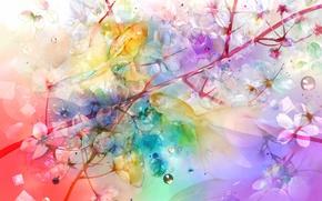 Picture fish, flowers, branch, art, saiga tokihito