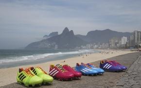 Picture beach, mountains, the ocean, football, Brazil, adidas, Brasil, adizero, Brazil themed