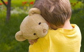 Wallpaper children, lonely, Teddy bear, sad, child, sadness, childhood, little boy, Little boy, child, sad, Bear, ...