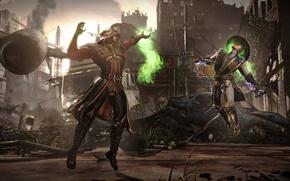 Picture magic, battle, arena, Raiden, Ermac, Mortal Kombat X